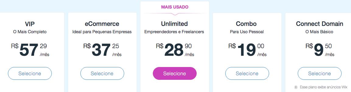 wix preços