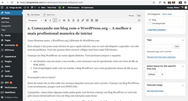 fazer um blog wordpress